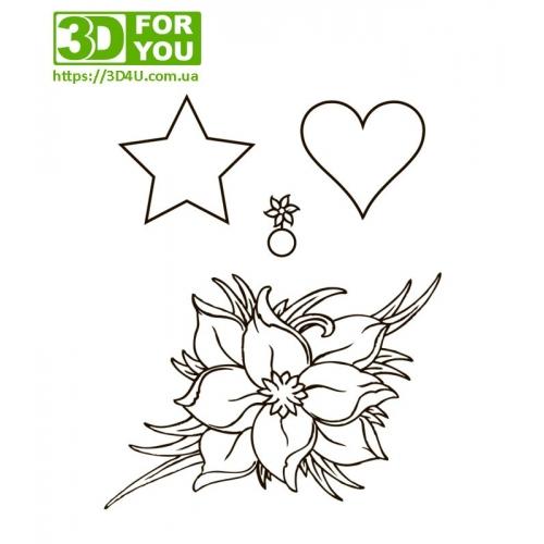 Квіти для декорацій (трафарет для 3D ручки)