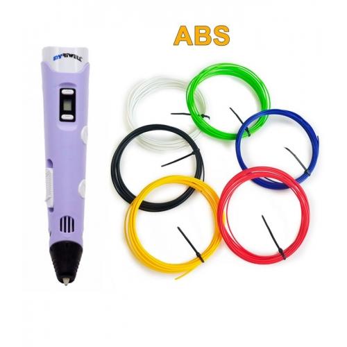 3D-Ручка MyRiwell RP-100B + 30 м ABS (6 кольорів). Набір START.